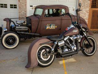 1932 Plymouth Rat Rod and Harley Davidson Super Glide Rat Bike